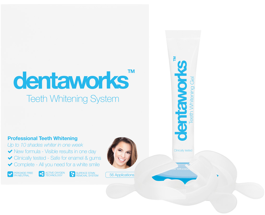 White teeth with Dentaworks Tooth Whitening